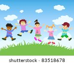 happy kids jumping | Shutterstock .eps vector #83518678