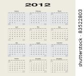 2012 calendar with first day of