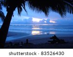 Romantic Blue Beach Sunset In...