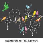 vector illustration of birds on ... | Shutterstock .eps vector #83539504