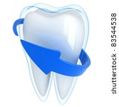 Tooth and blue shell  (done in 3d, isolated) - stock photo