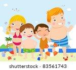 kids on beach | Shutterstock .eps vector #83561743