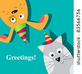Greeting Card With Dog And Cat