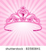 Beautiful shining  princess crown on radial background