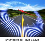 Stylized speedometer on the track at high speed. Concept of speed. - stock photo