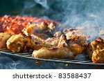 Sausage and Chicken in barbecue - stock photo