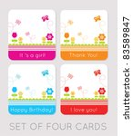 Set Of Four Tulips Cards