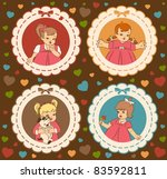 vintage cartoon little girls on ... | Shutterstock . vector #83592811