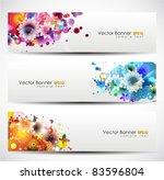 set of floral header. vector...