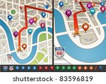 navigational map with icons.... | Shutterstock .eps vector #83596819