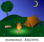 tent and camp fire in the night ... | Shutterstock .eps vector #83623441
