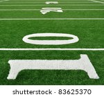10, 20, & 30 Yard Line on American Football Field - stock photo