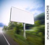 A 3d illustration of blank white billboard on the highway. - stock photo