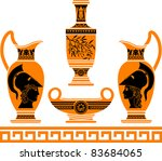 Set Of Hellenic Vases. Stencil...