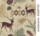 christmas deer  vintage vector...   Shutterstock .eps vector #83689765