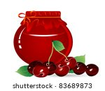 jar of cherry jam and red...   Shutterstock .eps vector #83689873