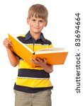 School Boy Is Holding A Book...