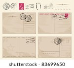 set of vintage postcards with... | Shutterstock .eps vector #83699650