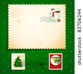 Christmas Postcard With Stamps  ...