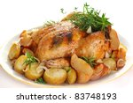 whole roasted chicken with... | Shutterstock . vector #83748193