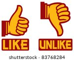 thumb up and down gesture  like ... | Shutterstock .eps vector #83768284