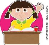 a little girl is raising her...   Shutterstock .eps vector #83773693