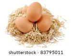 Eggs In Farm Straw