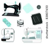 sewing machine kit black  white ... | Shutterstock .eps vector #83807650