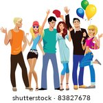 group of young happy people ... | Shutterstock .eps vector #83827678