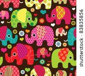 Stock vector seamless retro elephant kids pattern wallpaper background in vector 83835856