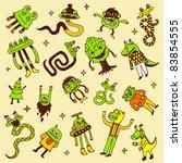 crazy doodle monsters. vector... | Shutterstock .eps vector #83854555