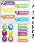 Gluten Free - Selection of colorful food allergy labels and logo's including gluten free, nut free, dairy free, sugar free, vegan and egg free.
