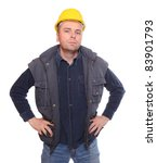 Worker wearing a helmet isolated on a white background. - stock photo