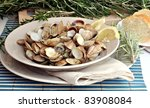 Dish With Clams Steamed Open