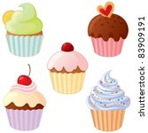 a set of delicious cupcakes. | Shutterstock .eps vector #83909191