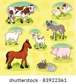 farm animals. vector and... | Shutterstock .eps vector #83922361