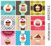 set of cake cards template   Shutterstock .eps vector #83922511