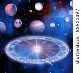 zodiac and planets over starry... | Shutterstock . vector #83925397