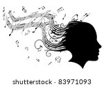 Conceptual illustration of a woman's head in profile with hair turning into sheet music musical notes - stock vector