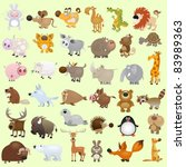 Stock vector big cartoon animal set 83989363