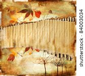 autumn background  -vintage paper with place for text - stock photo