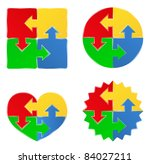 Stock vector vector puzzle shapes with arrows 84027211