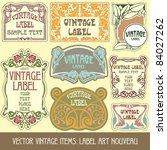 vector vintage items  label art ... | Shutterstock .eps vector #84027262