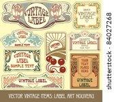 vector vintage items  label art ... | Shutterstock .eps vector #84027268