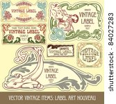 vector vintage items  label art ... | Shutterstock .eps vector #84027283