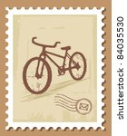 bicycle stamp | Shutterstock .eps vector #84035530