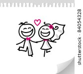 cartoon wedding couple on... | Shutterstock .eps vector #84054328