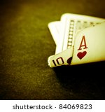 a hand of blackjack in retro color - stock photo