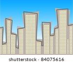 retro style city skyline... | Shutterstock .eps vector #84075616