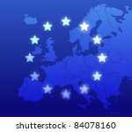 Europe map and flag background - stock vector